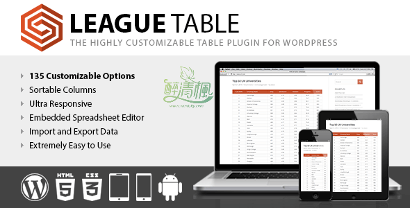 WordPress表格插件 – League Table(汉化)[更新至v2.07] WordPress插件 第1张