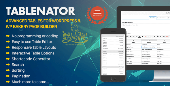 WordPress表格插件 - Tablenator v2.0.2(汉化) WordPress插件 第1张